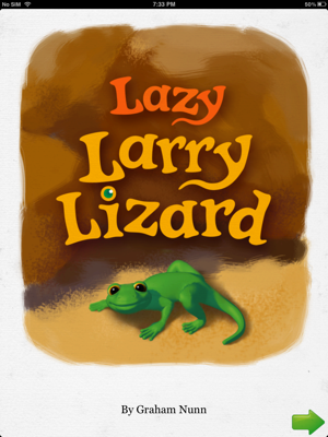 Lazy Larry Lizard bedtime story book for preschoolers