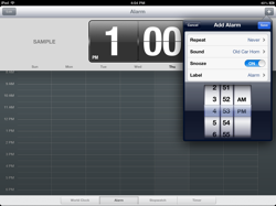 Set an Alarm using Clock for iPad