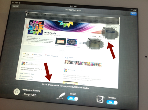 Setting Guided Access Tapping Restrictions on an iPad App